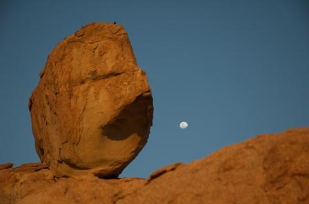 moonrise behind the big, red boulders we slept under