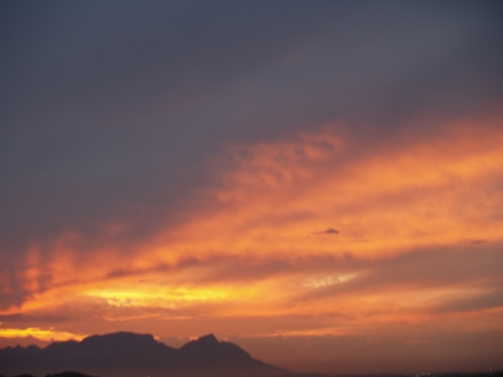 Sunset behind Table Mountain from False Bay