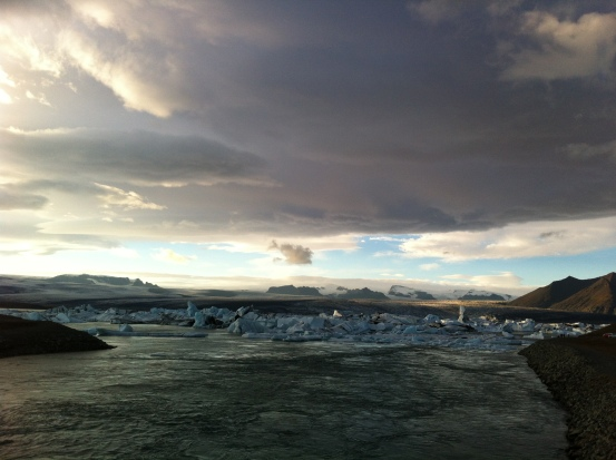 a magical place of floating icebergs under the glacier