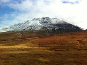 fall colours and snow-topped mountains