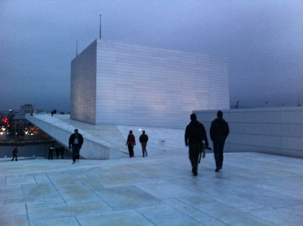walking ontop of the Oslo opera house