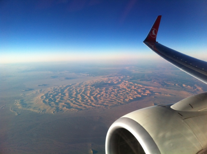 flying over the Sahara with Turkish Airlines