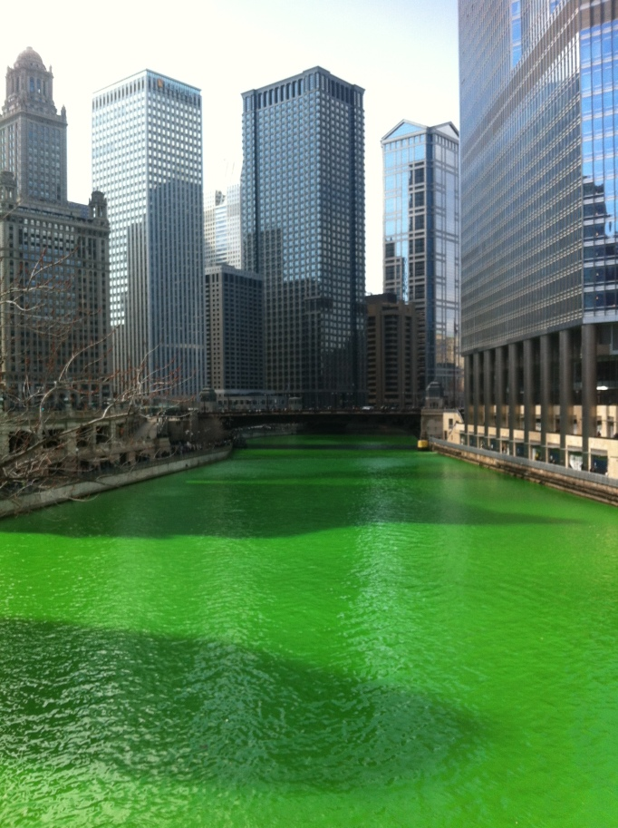 the river runs green!