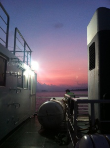 sunset from the ship
