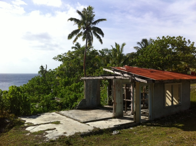 a common sight in Niue, houses half blown away