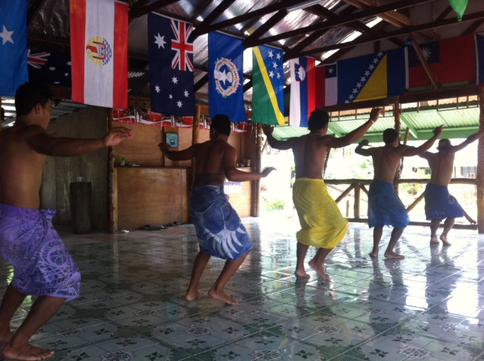 fiafia dancers practicing for a big show
