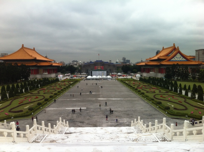 the pretty gardens at Chiang Kai-Shek plaza