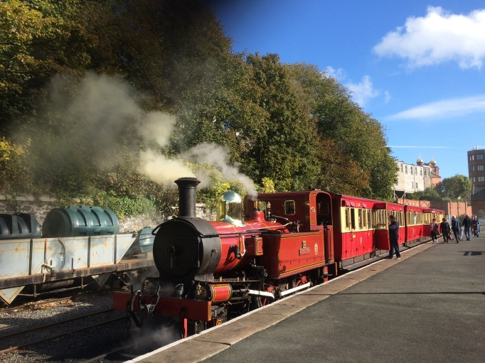 this heritage steamtrain is one form of public transport on the Isle of Man