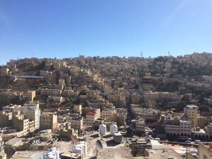 the view of Amman from the rooftop of the Rainbow house