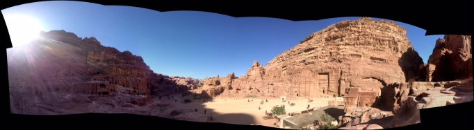 Petra's many caves and stone-carved facades