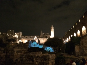 the fortress of the Tower of David at night