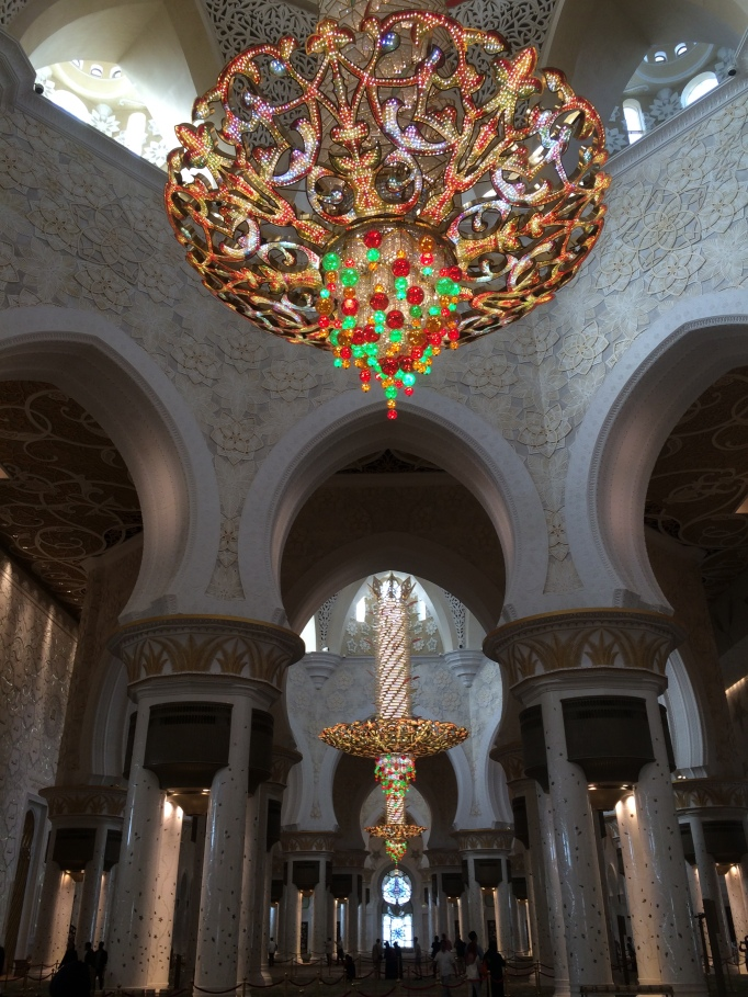 Zayed mosque's chandelier and carpet