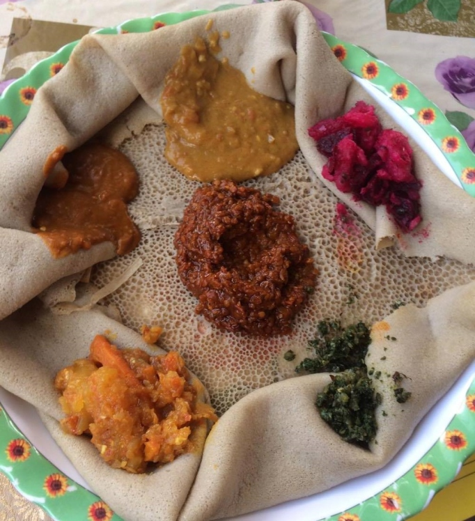 a typical injera spread