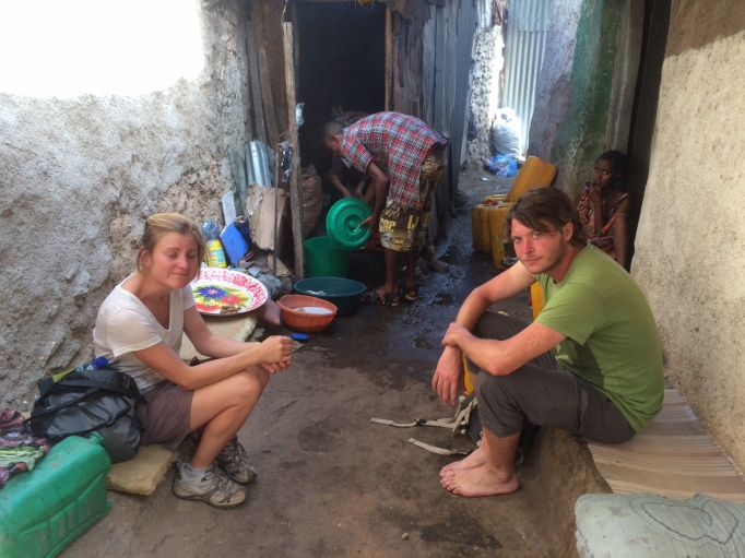 a local coffee shop in Old Harar, and two of my new travel buddies