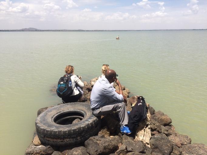 a lone papyrus boat fishing on Lake Tana