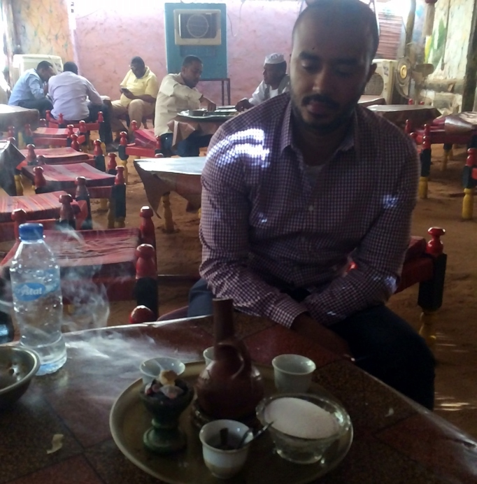 a coffee ceremony in Khartoum after a traditional Sudanese lunch
