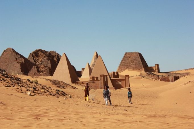 at the pyramids in Meroe Royal cemetery, aka Al Ahram near Bajrawiya
