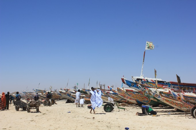 the Mauritanians, the fishing boats, and one praying muslim at the Port de Peche, Nouakchott