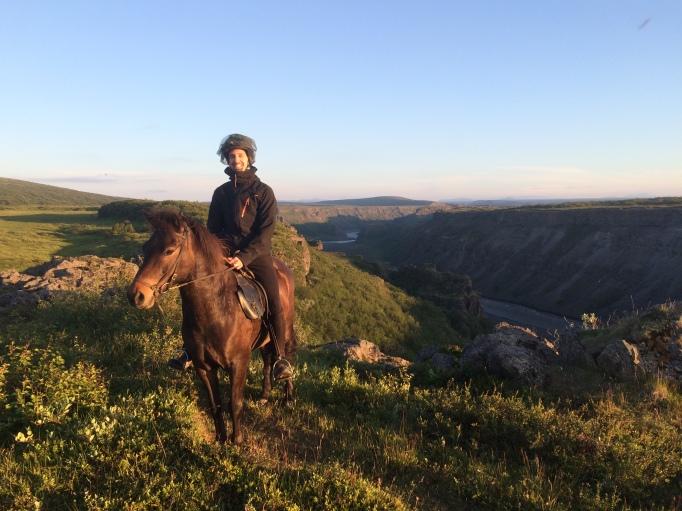 a rider poses over Jökulsá á fjöllum glacier river