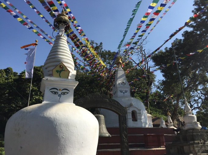 lots of stupas and prayer flags in Kathmandu