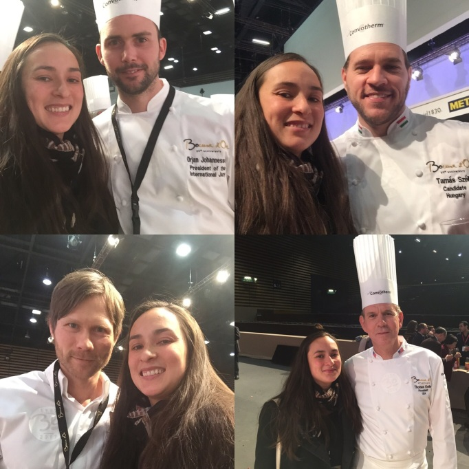 Selfies with all the famous chefs (clockwise from top left: Bocuse d'or Gold 2015 Norwegian Orjan; Bocuse Europe 2016 winner Hungarian Tomas; 3 time Bocuse podium placer Danish Rasmus, and the USA Bocuse team coach Thomas Keller