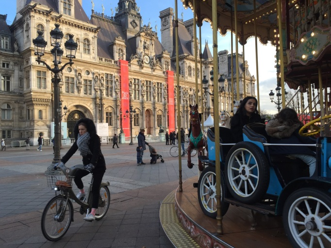 Hotel de Ville + bicycle + musical carousel = Paris in a nutshell